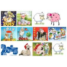 Картинки на водорастворимой бумаге  Новый год овцы