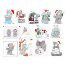 Картинки на водорастворимой бумаге  Новый год Тедди